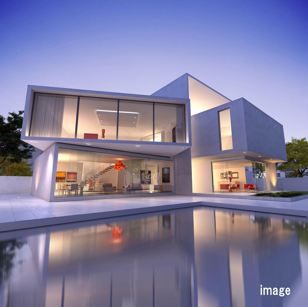 こだわりの空間を楽しむ-中庭と水盤とインテリア-のイメージ
